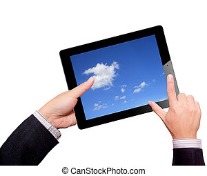 Businessman hands are holding the contemporary digital tablet with cloudy sky on the screen. Concept image on cloud-computing theme. Isolated on white.