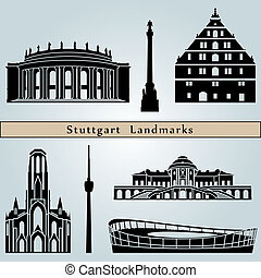 Stuttgart landmarks and monuments isolated on blue...