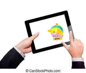 Businessman hands are holding the contemporary digital tablet with piggy bank style money box. Concept image on cloud-computing theme. Isolated on white.