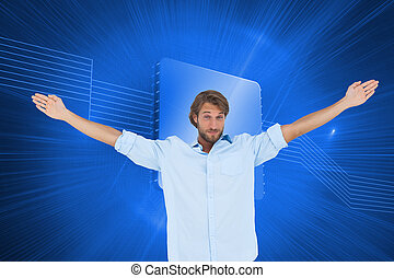 Composite image of handsome man raising hands and smiling