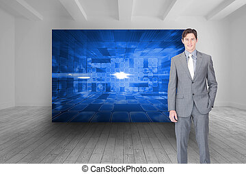 Composite image of portrait af a charismatic businessman...