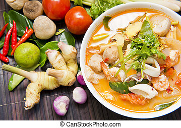 Tom Yum Koong with ingredient Thai Tradition food - Tom Yum...