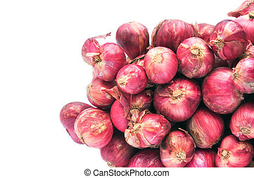 shallot - Shallot onions in a group on a white background.