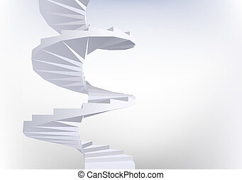 Spiral staircase. - Background with White Spiral staircase....