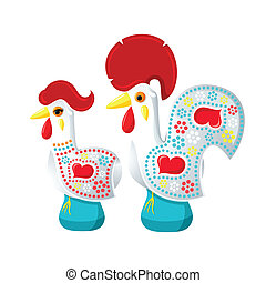 Galo and Galinha de Barcelos - Decorated white Barcelos...