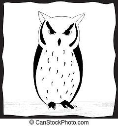 Black and white illustration of owl