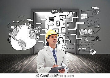 Composite image of architect taking notes - Composite image...