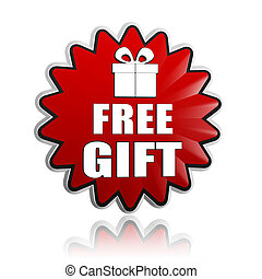 free gift with present box sign in red star banner