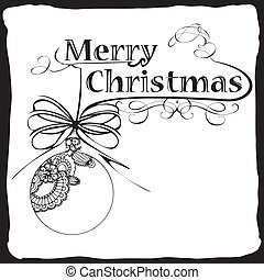 Merry Christmas card with typography, ball and banner