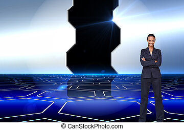 Composite image of isolated confident businesswoman smiling at the camera agaisnt white