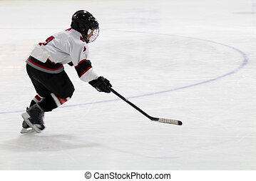Child playing minor hockey