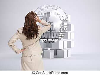 Composite image of businesswoman standing back to camera with hand on head
