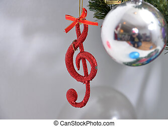 Christmas tree ,details, musical notes, balls