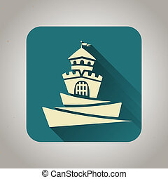 Blue flat icon with castle for web and mobile applications -...