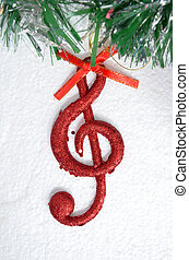 Christmas tree ,details, musical notes, balls...