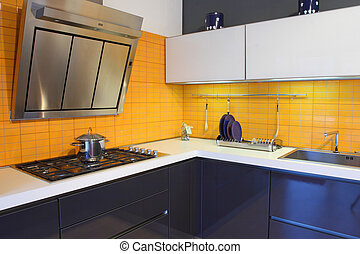 yellow kitchen - fine image of modern wood kitchen with...