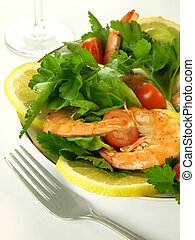 Colorful salad with shrimps - Colorful vegetable salad with...