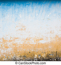 Dilapidated beige and blue wall texture