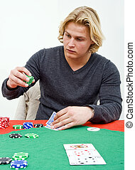 Poker bet - A Poker player deciding on how much to bet on...