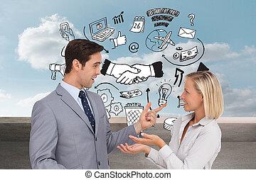 compuesto, imagen, empresa / negocio, gente, encontrar,...