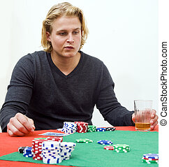 Poker strategy - A poker player in deep thought to decide...