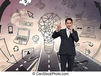 Composite image of thouhgtful asian businessman pointing -...