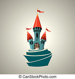 Cartoon fortified castle with flags. Icon. - Cartoon...