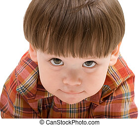 Face of a kid looking at you