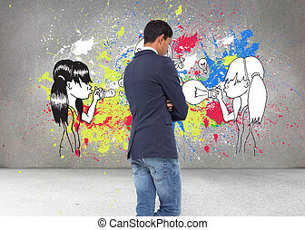 Composite image of unsmiling casual businessman with arms...