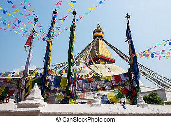 Bodhnath stupa in Kathmandu, Nepal - Bodhnath stupa also...