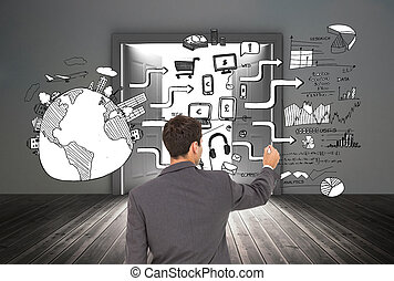 Composite image of businessman standing back to camera...