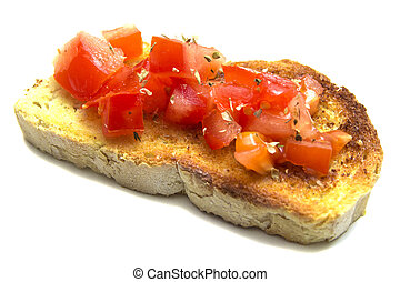 Bruschetta - Fresh bruschetta isolated on white background
