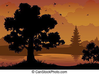 Landscape, trees, river and birds - Evening contour black...