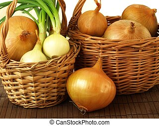Basket of onions - Two baskets filled with onions