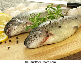 Nutritious dinner - Raw nutritious and fresh fish for dinner