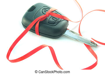 Car keys - Gift ribbon tied around a set of car keys