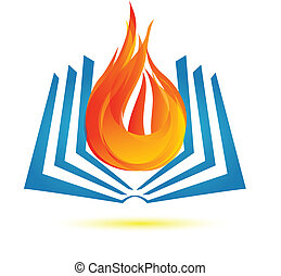 Book on fire logo vector background