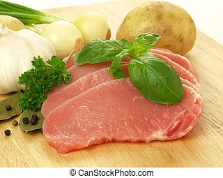 Raw pork with vegetables