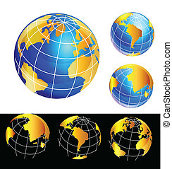 Set of World globes in gold logos