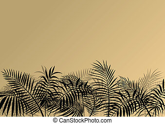Exotic jungle forest plants, leafs and grass detailed...