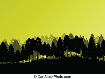 Forest trees silhouettes natural wild landscape detailed...