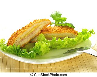 Cordon blue, isolated - Cordon blue served on a plate with...