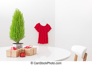 Interior with Christmas decorations and gifts