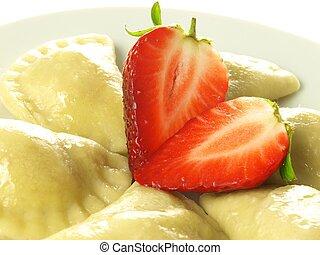 Strawberry dumplings, closeup