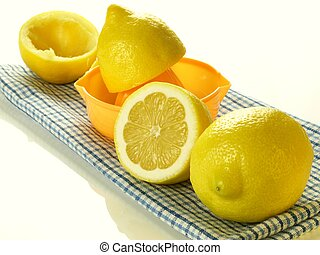 Lemons for squeezing, isolated - Preparing lemons for...