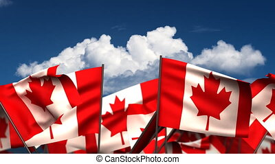 Waving Canadian Flags (seamless & alpha channel)