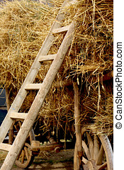 Agricultural wagon with stacked straw
