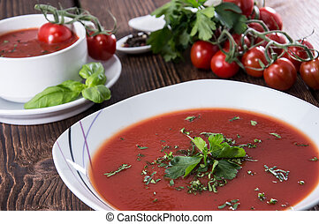 Fresh made Tomato Soup with herbs