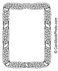 oak leaf frame black silhouette