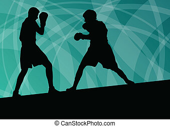 Boxing active young men box sport silhouettes vector...